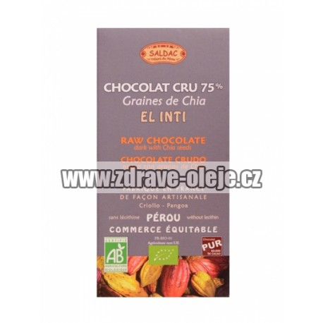 Hořká čokoláda s chia RAW BIO 75% kakaa 100g Salute Livi