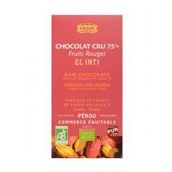 Hořká čokoláda borůvka a malina RAW BIO 75% kakaa 100g Salute Livi